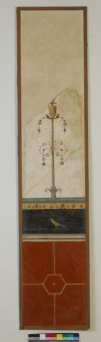 Wall painting on white ground: candelabrum, from the imperial villa at Boscotrecase | Roman, Pompeian | Early Imperial | The Met