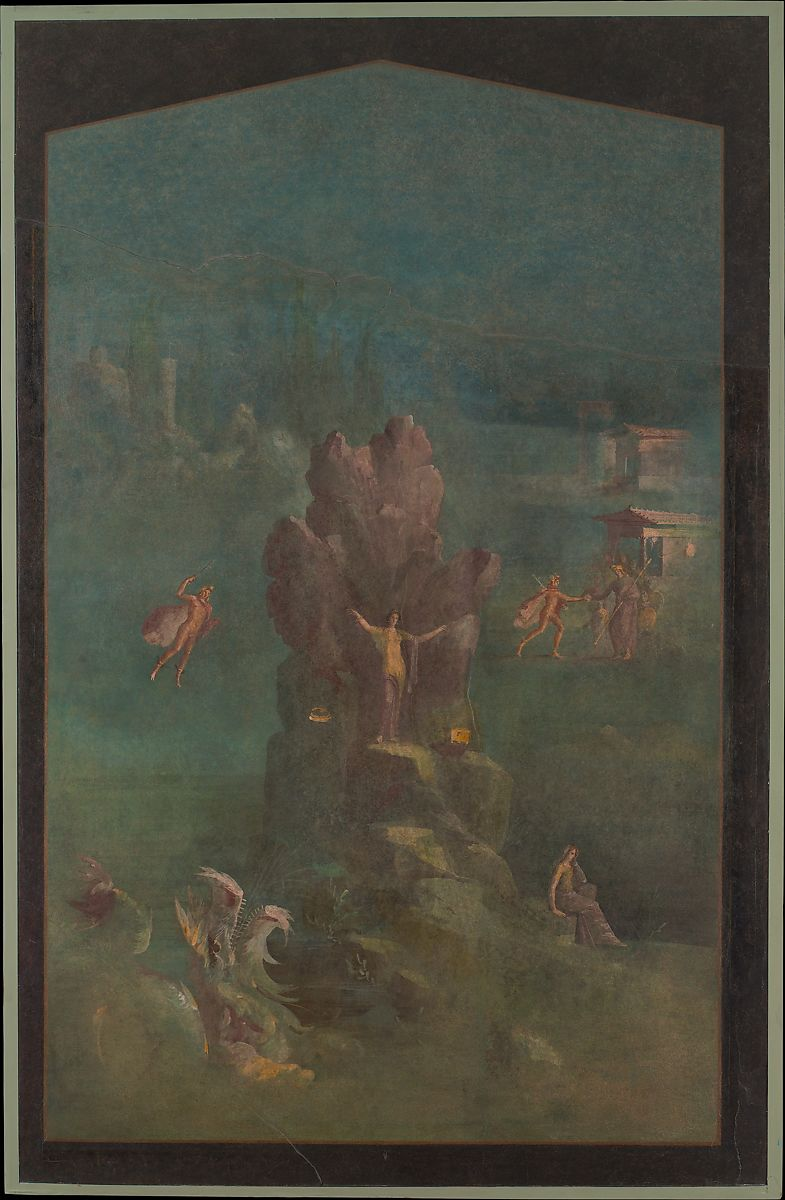 Wall painting: Perseus and Andromeda in landscape, from the imperial villa at Boscotrecase | Roman | Augustan | The Met
