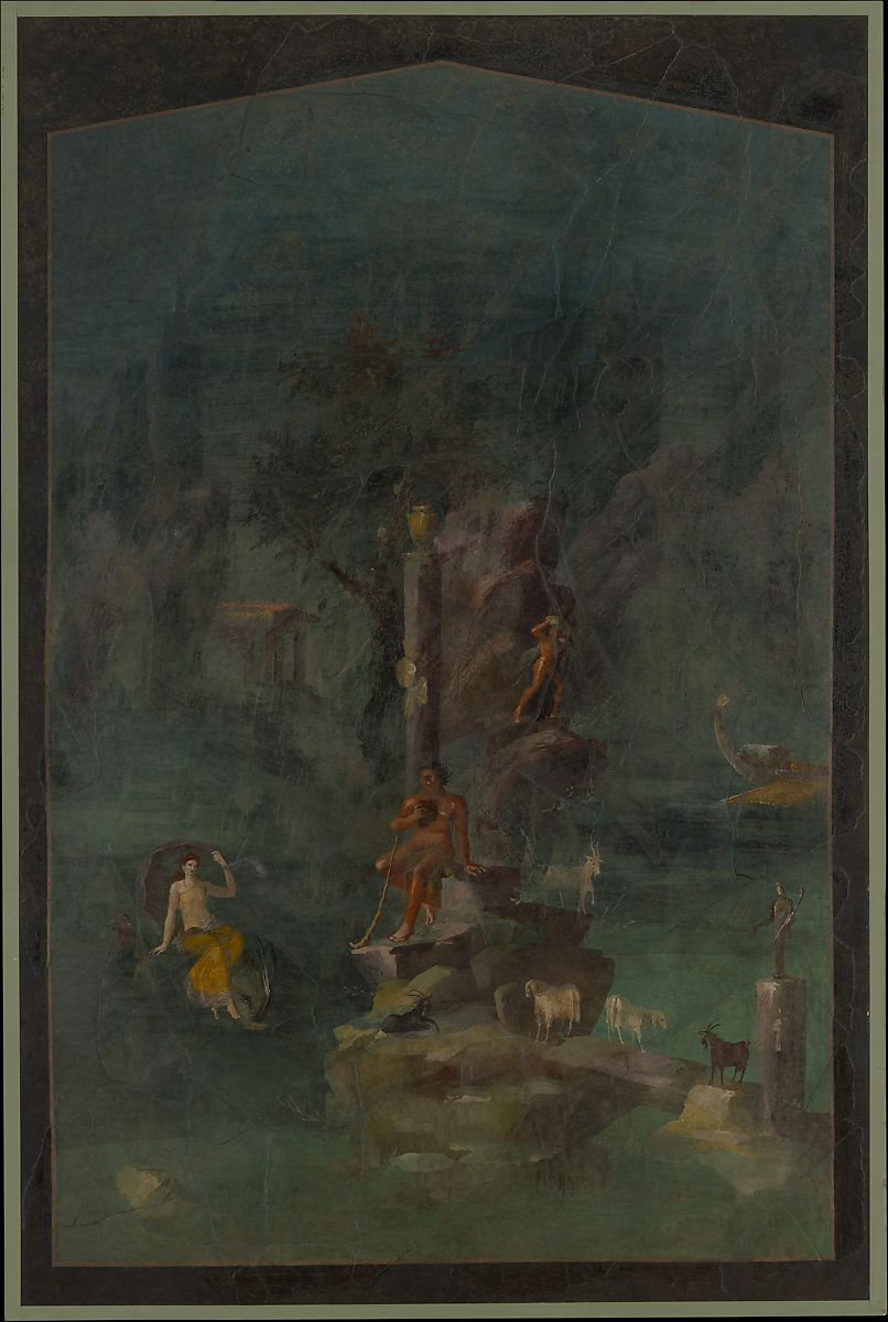 Wall painting: Polyphemus and Galatea in a landscape, from the imperial villa at Boscotrecase, Fresco, Roman