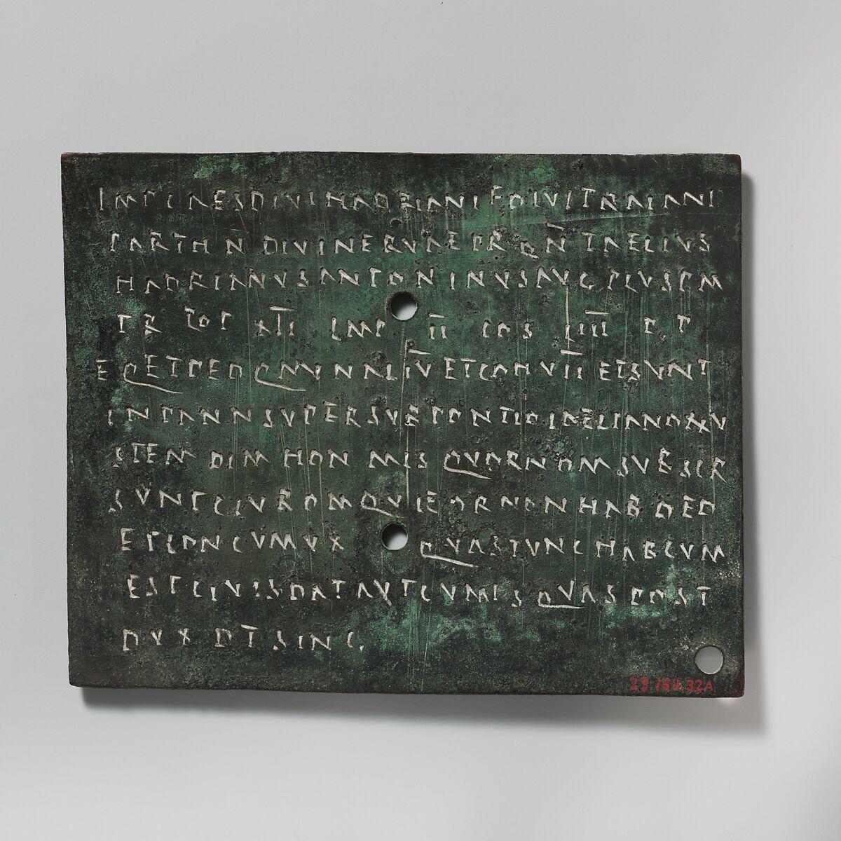 Bronze military diploma | Roman | Mid-Imperial, Antonine | The Met