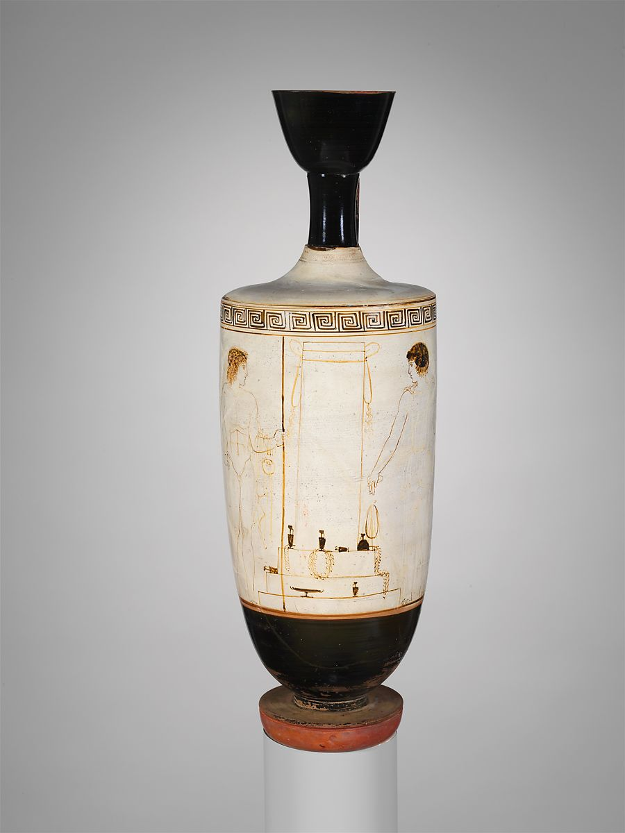 Attributed to the Bosanquet Painter | Terracotta lekythos (oil flask) | Greek, Attic | Classical | The Met