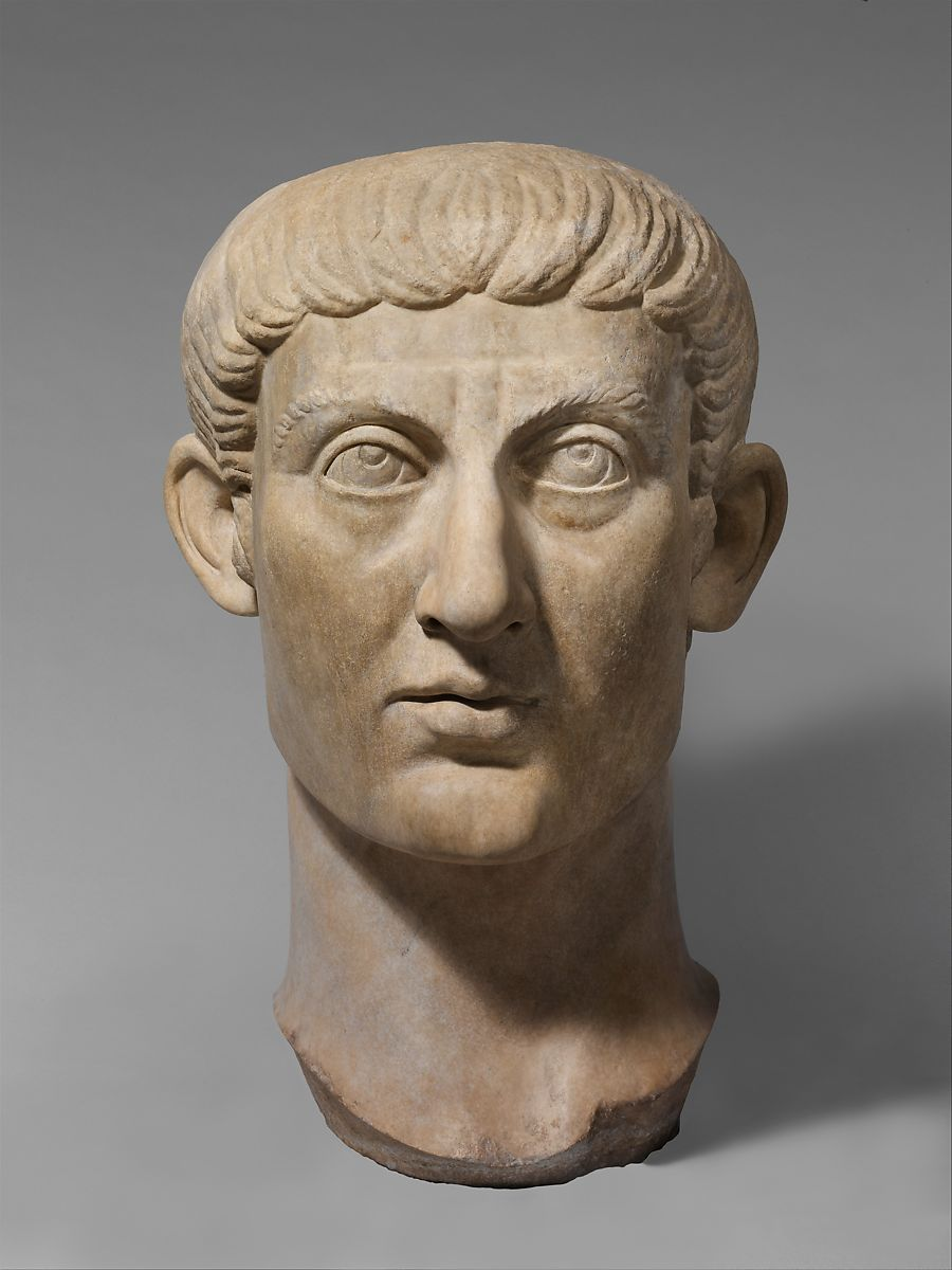 Marble Portrait Head Of The Emperor Constantine I Roman