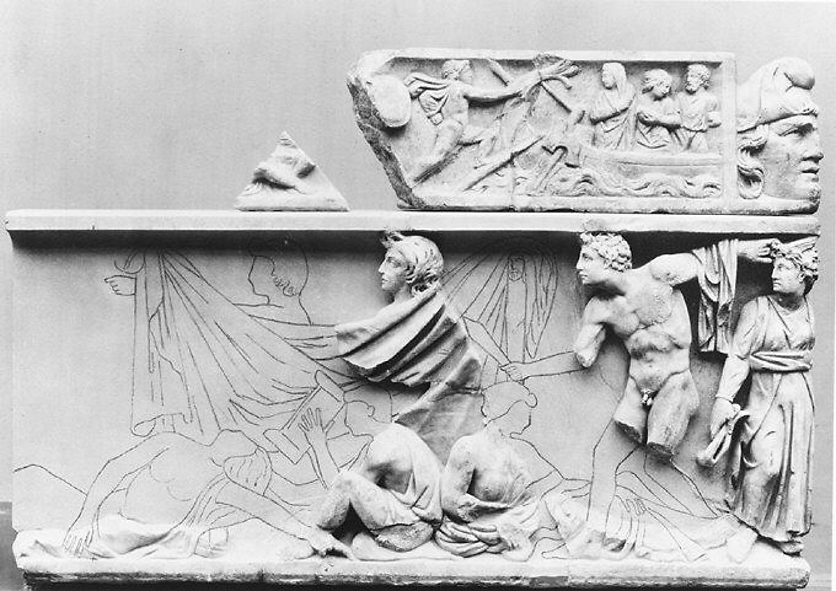 Fragmentary marble sarcophagus with scenes from the Oresteia | Roman | Antonine | The Met