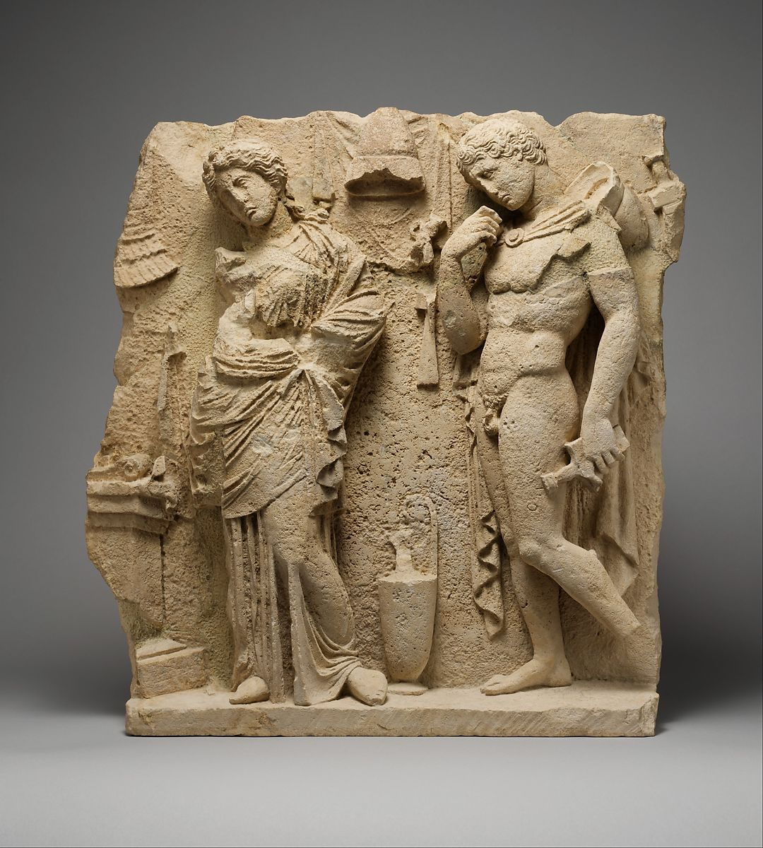 Limestone funerary relief | Greek, South Italian, Tarentine | Hellenistic | The Met