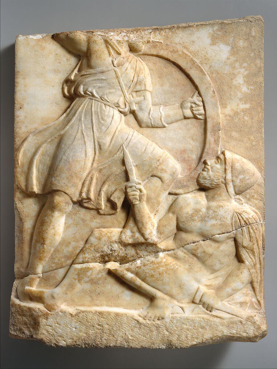 Grave stele with Hoplite Battle Scene | Greek, Attic | Classical | The Met