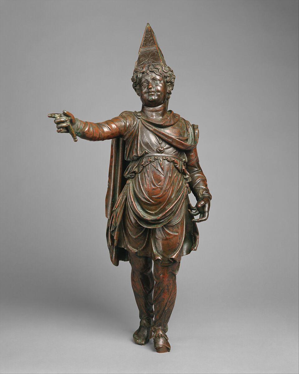 Bronze statuette of a boy in Eastern dress, Bronze, Greek, Ptolemaic or Roman