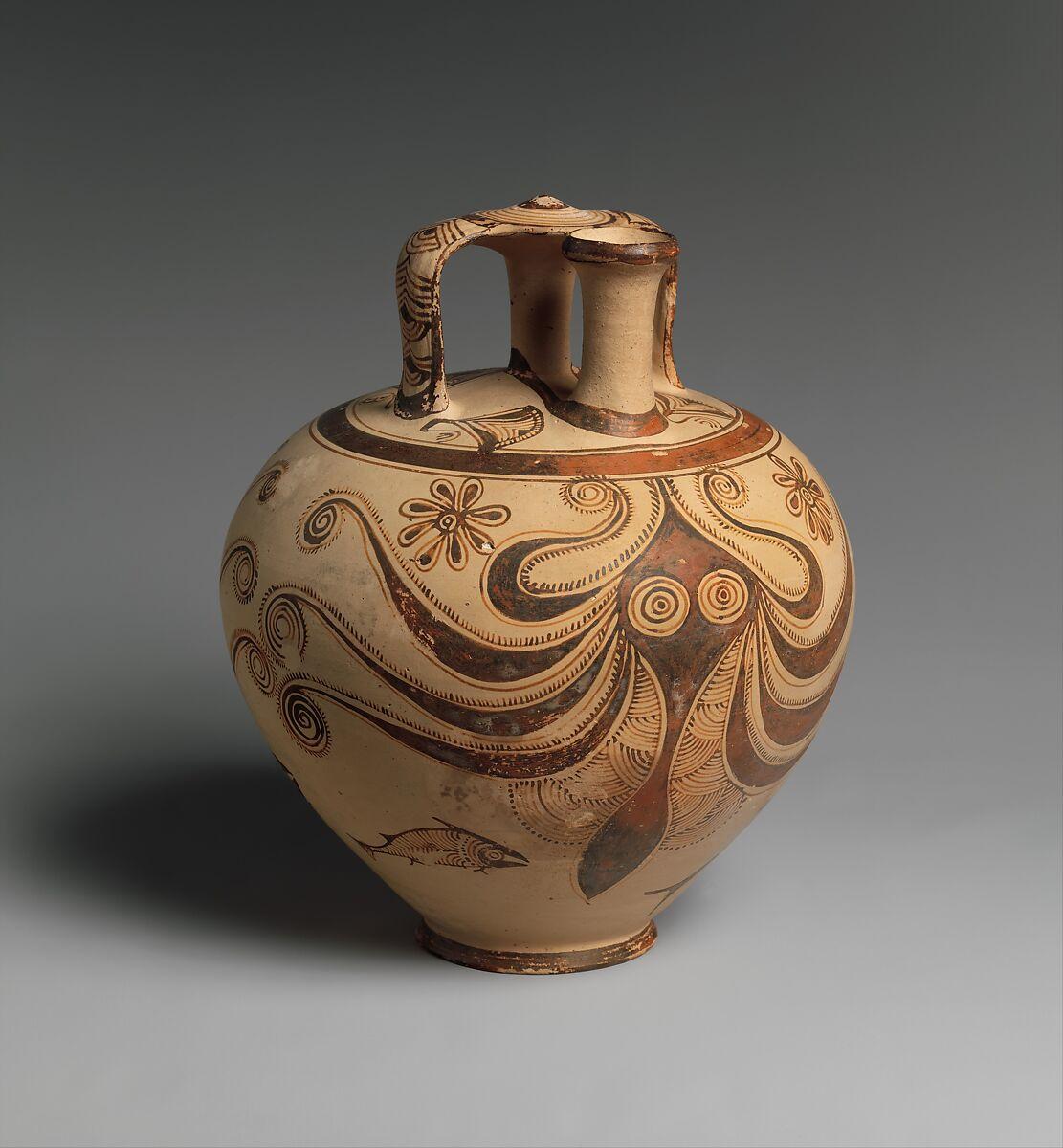 Terracotta stirrup jar with octopus | Helladic, Mycenaean | Late Helladic IIIC | The Met