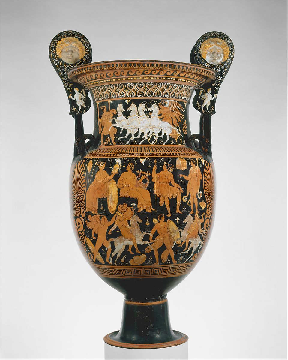 Attributed to the Capodimonte Painter | Terracotta volute-krater (vase for mixing wine and water) | Greek, South Italian, Apulian | Hellenistic | The Met