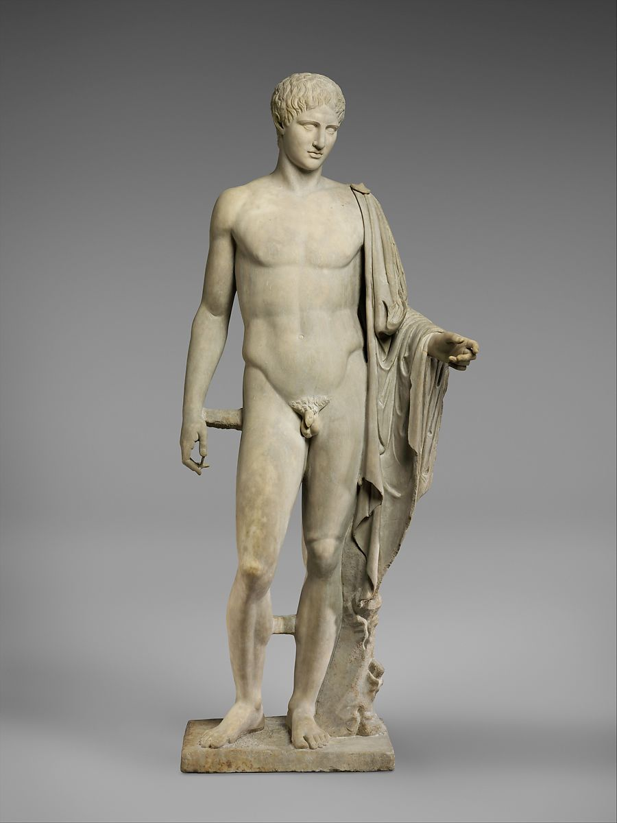 Marble statue of Hermes, Copy of work attributed to Polykleitos, Marble, Pentellic, Roman