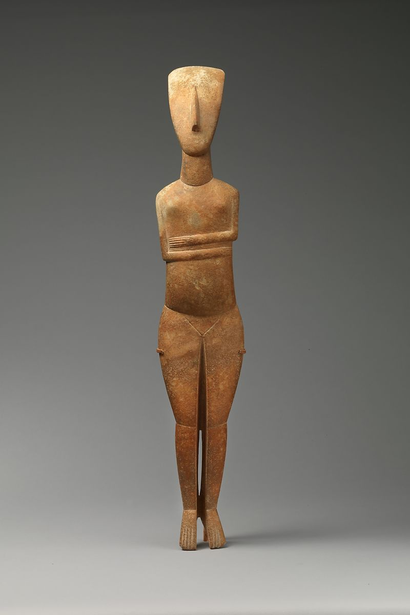 Marble female figure, Attributed to the Bastis Master, Marble, Cycladic