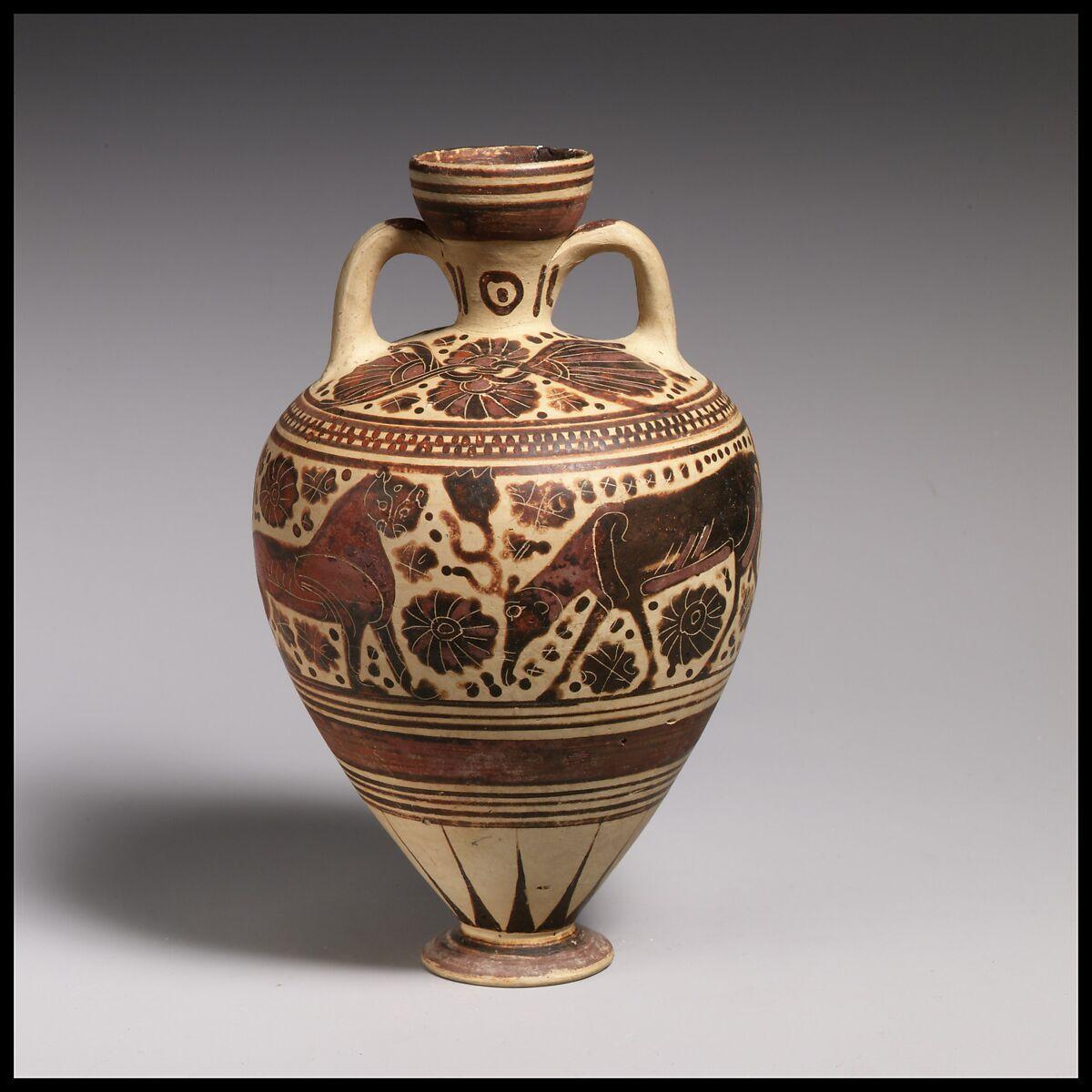 Terracotta amphoriskos (perfume vase)   Greek, Corinthian   Late Corinthian   The Metropolitan ...