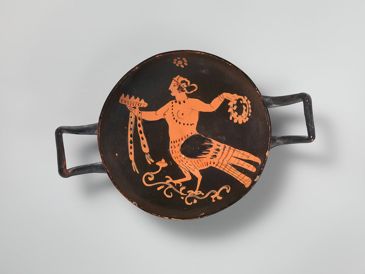 Terracotta stemless kylix (drinking cup), Attributed to the Asteas Workshop, Terracotta, Greek, South Italian, Paestan