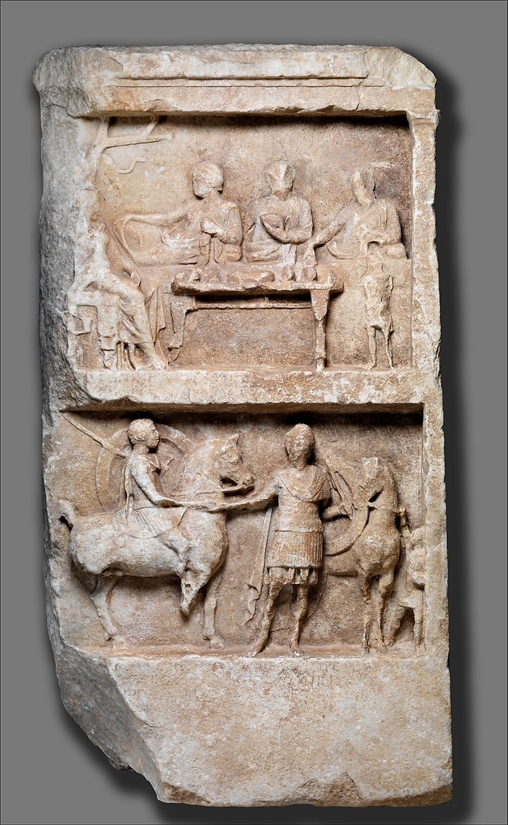 Marble grave relief with a funerary banquet and departing warriors | Greek | Hellenistic | The Met