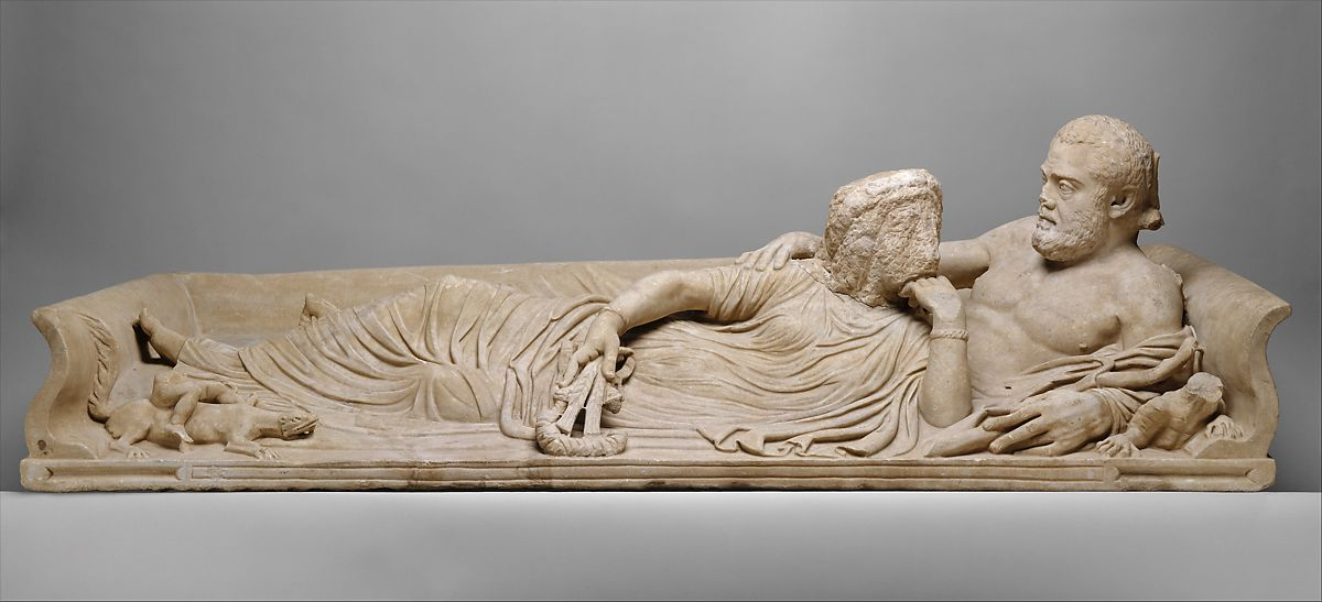 Marble sarcophagus lid with reclining couple, Marble, Roman