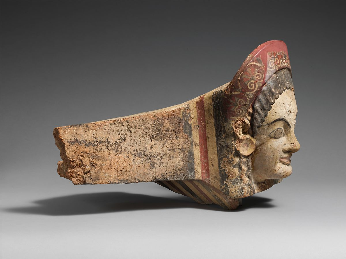 Terracotta antefix (roof tile) | Etruscan | Archaic | The Met