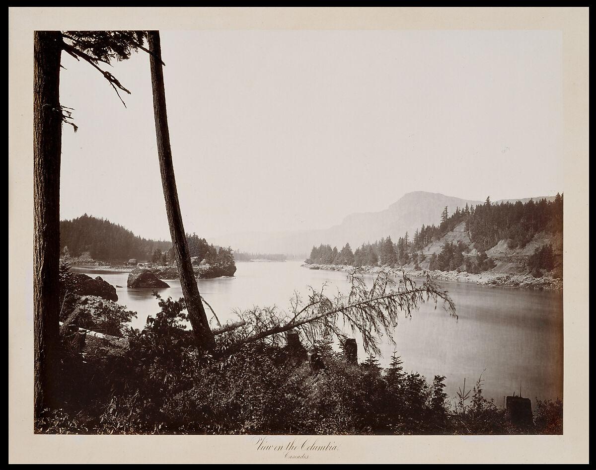 View on the Columbia, Cascades, Carleton E. Watkins (American, 1829–1916), Albumen silver print from glass negative
