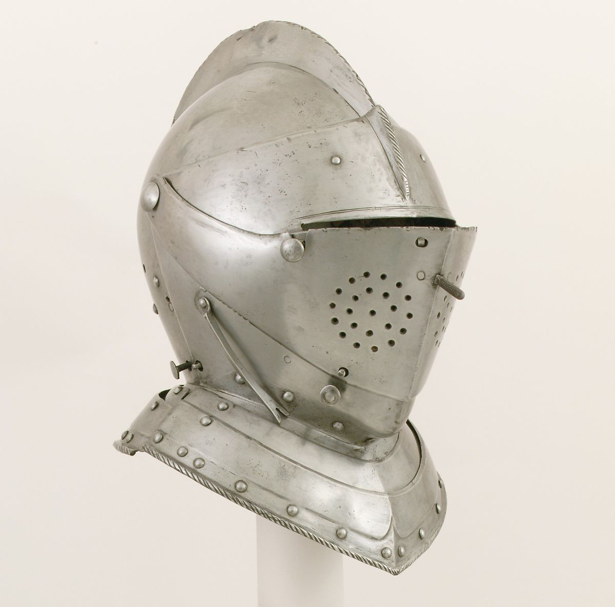 Close-Helmet for the Tournament, Steel, leather, textile, German, probably Augsburg