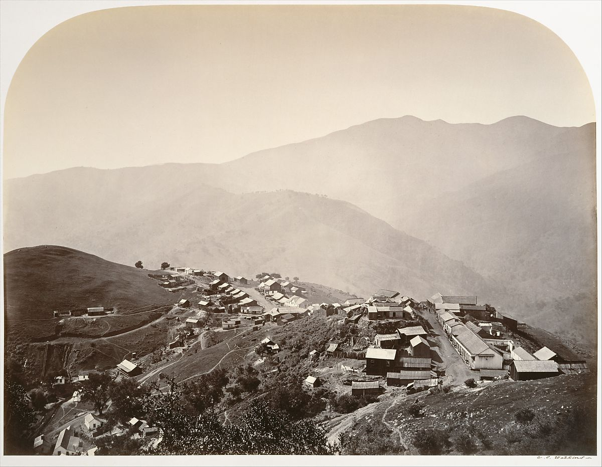 The Town on the Hill, New Almaden, Carleton E. Watkins (American, 1829–1916), Albumen silver print from glass negative