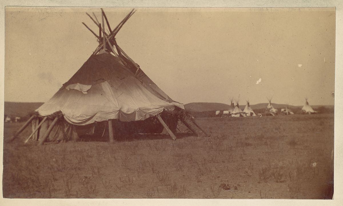 [Teepee in Native American Camp], Unknown (American), Albumen silver print from glass negative