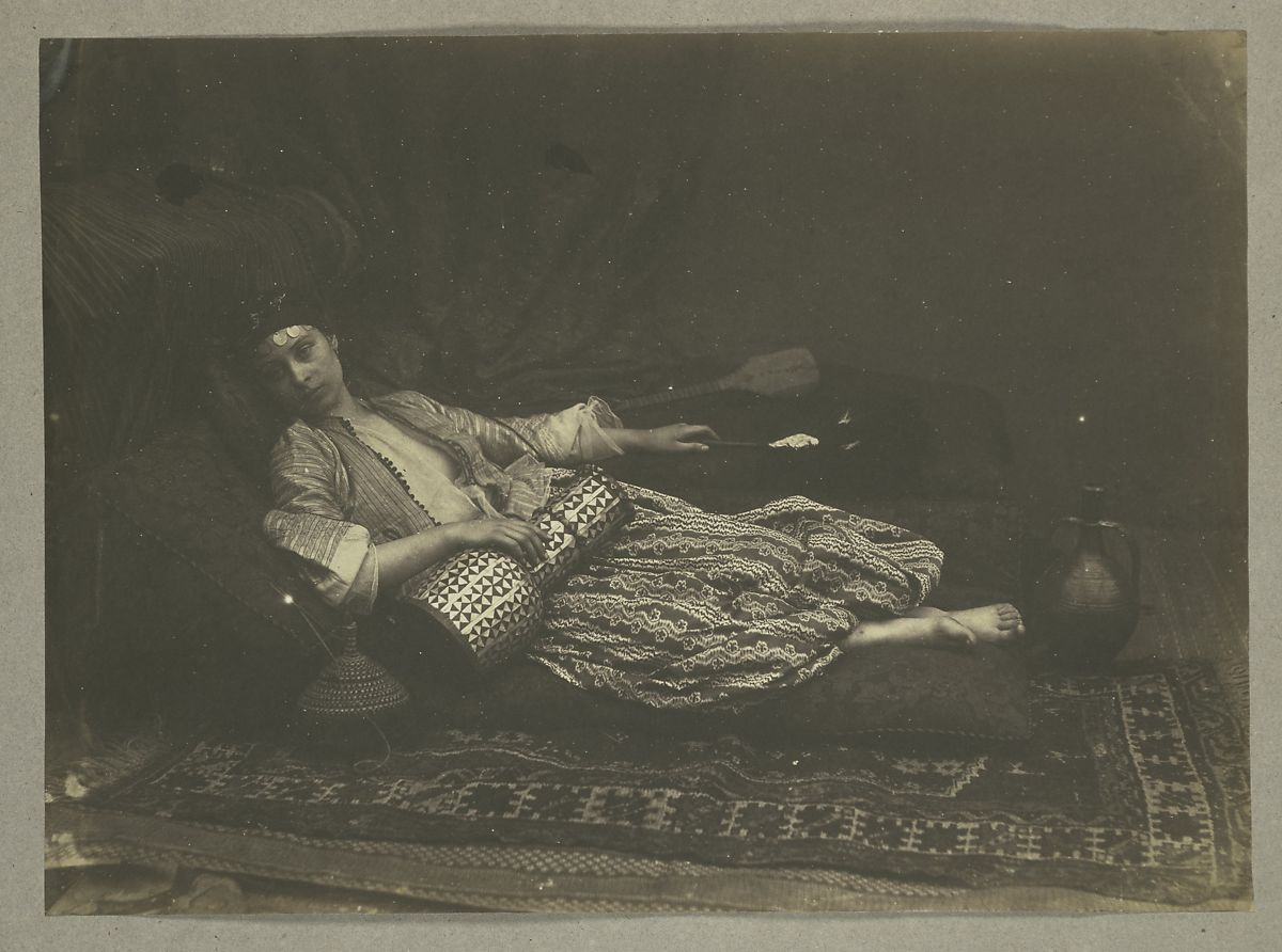 [Reclining Odalisque], Roger Fenton (British, 1819–1869), Salted paper print from glass negative