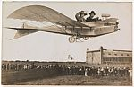 [Couple Flying Airplane Over Crowd], K. Himmelreich (German, active 1900s–1920s), Gelatin silver print