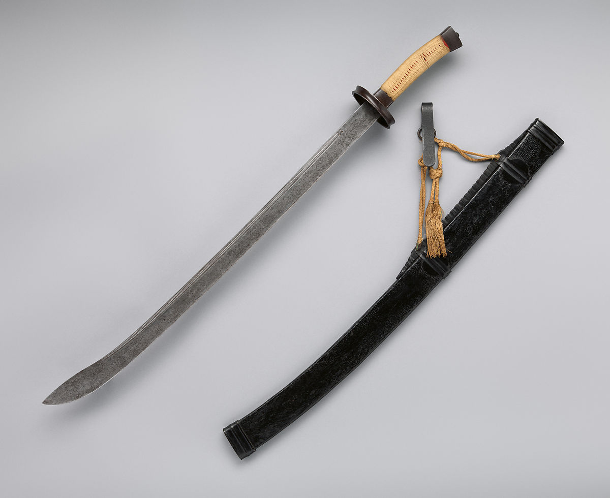 Saber with Scabbard and Belt Hook (清    腰刀), Steel, iron, silk, leather, wood, Chinese