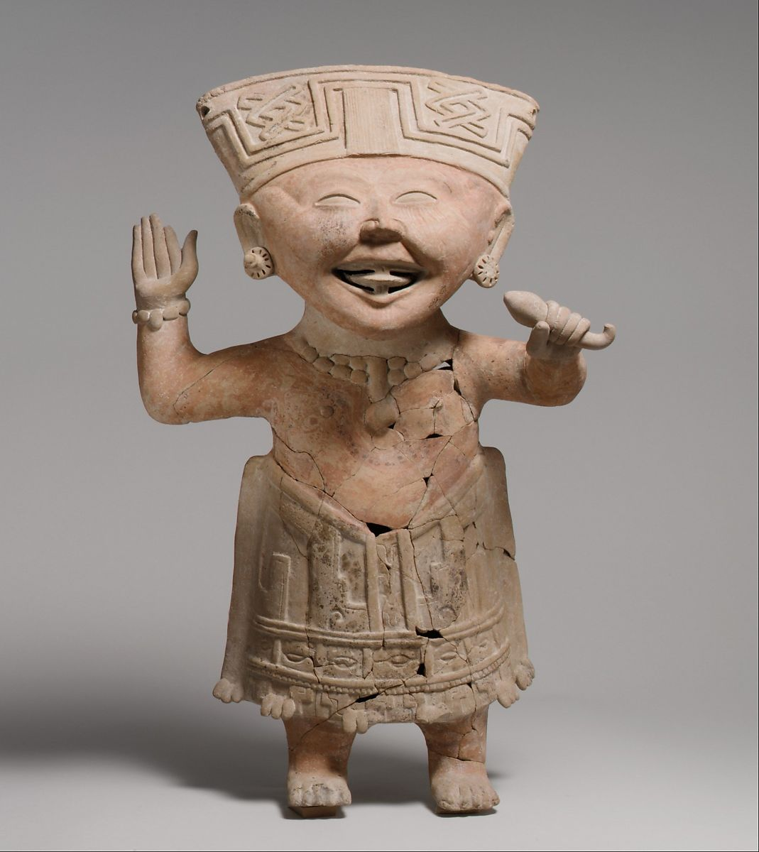 """Smiling"" Figure, Ceramic, Remojadas"