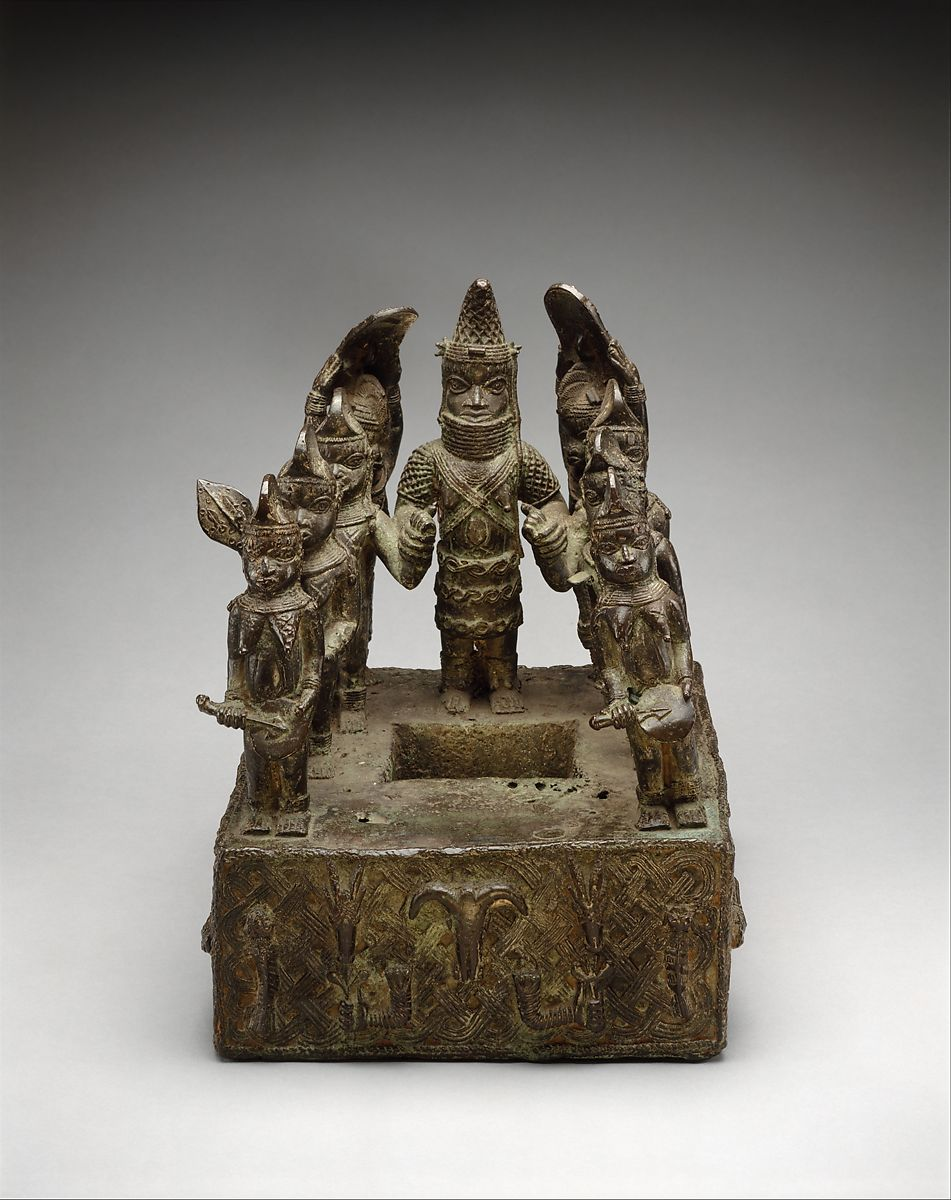 Altar Tableau: Queen Mother and Attendants, Brass, Edo peoples