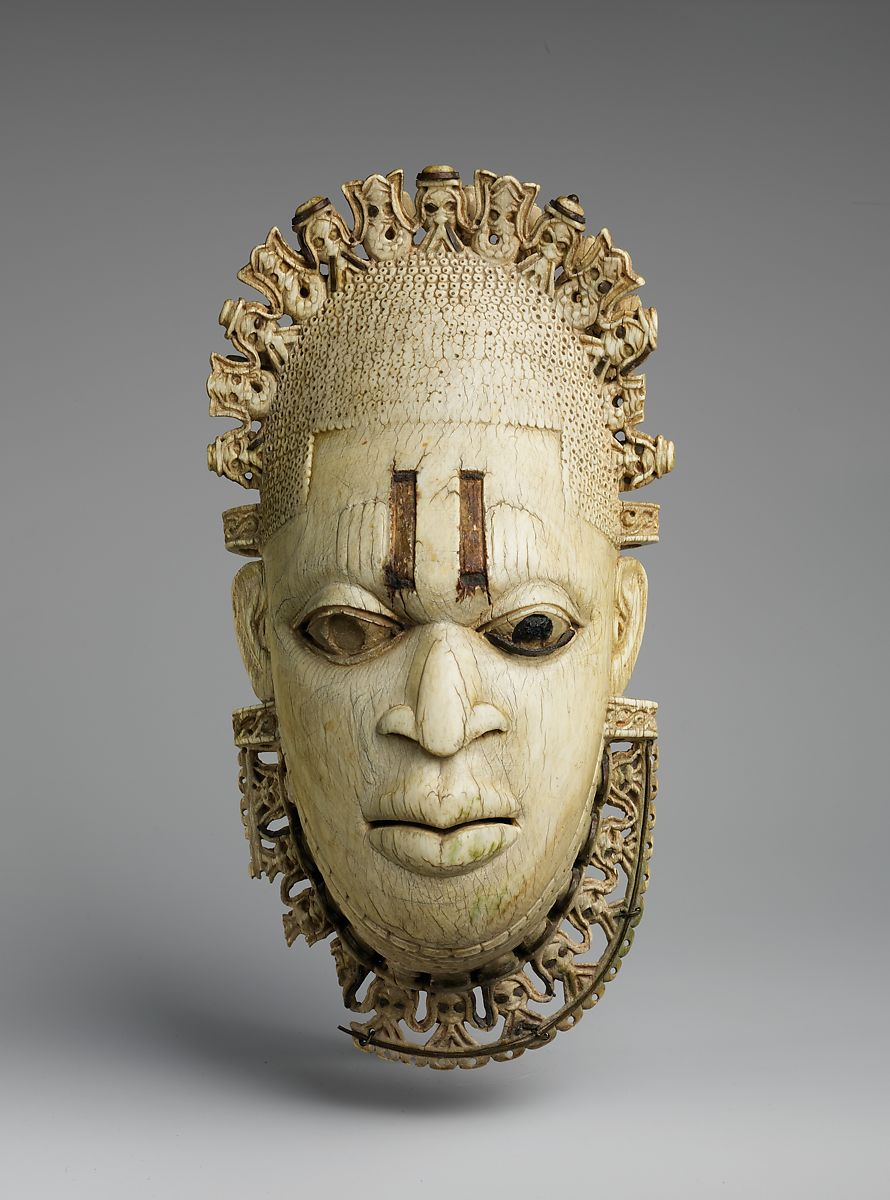 Queen Mother Pendant Mask: Iyoba, Ivory, iron, copper (?), Edo peoples