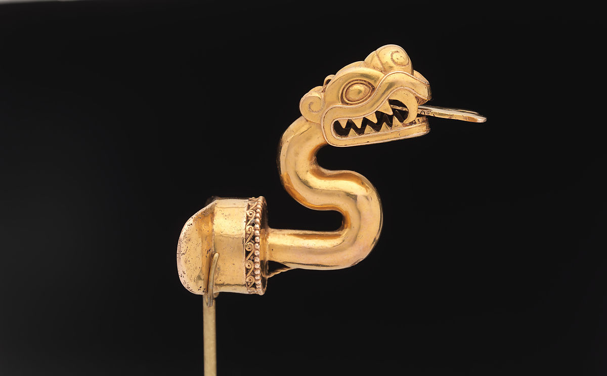 serpent labret with articulated tongue aztec the met