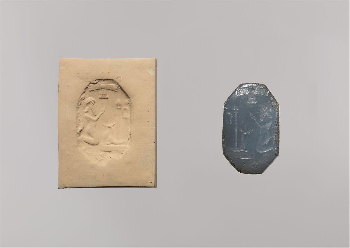 Stamp seal: worshiper kneeling before mushhushshu-dragon and standard | Neo-Babylonian | The Met