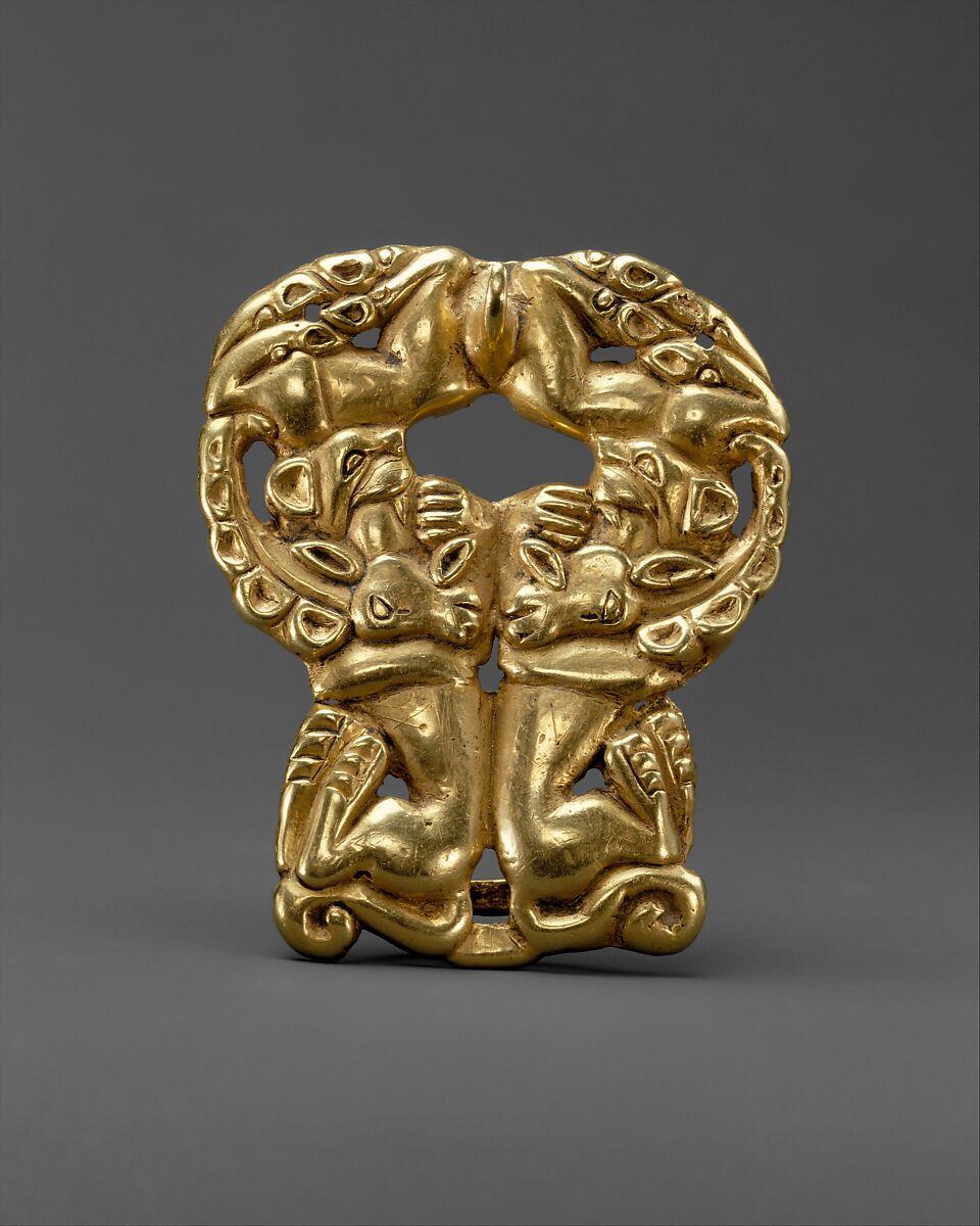 Belt buckle with paired felines attacking ibexes   Xiongnu   Xiongnu   The Met