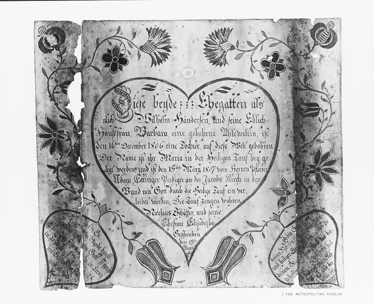 Baptismal Certificate American The Met