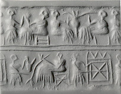 Cylinder seal and modern impression: banquet scene with seated