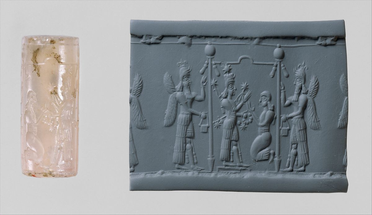 Cylinder seal and modern impression: Ishtar image and a worshiper below a canopy flanked by winged genies, Chalcedony, Assyrian