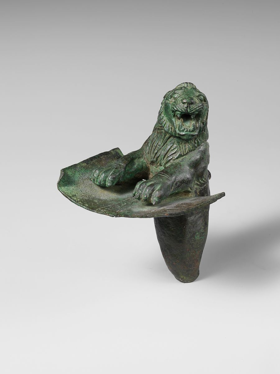 Foundation peg in the form of the forepart of a lion, Copper alloy, Hurrian