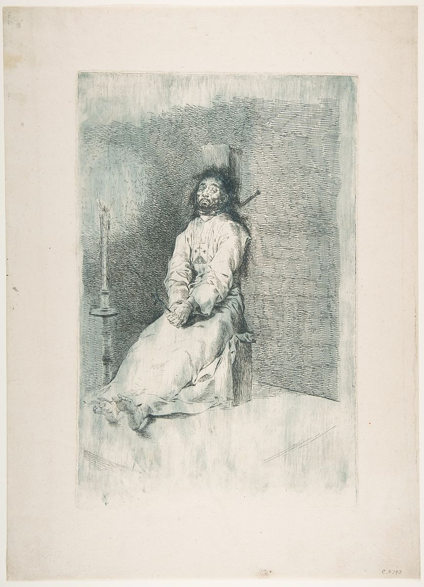 Garroted Man, Goya (Francisco de Goya y Lucientes) (Spanish, Fuendetodos 1746–1828 Bordeaux), Etching, printed in blue (working proof)