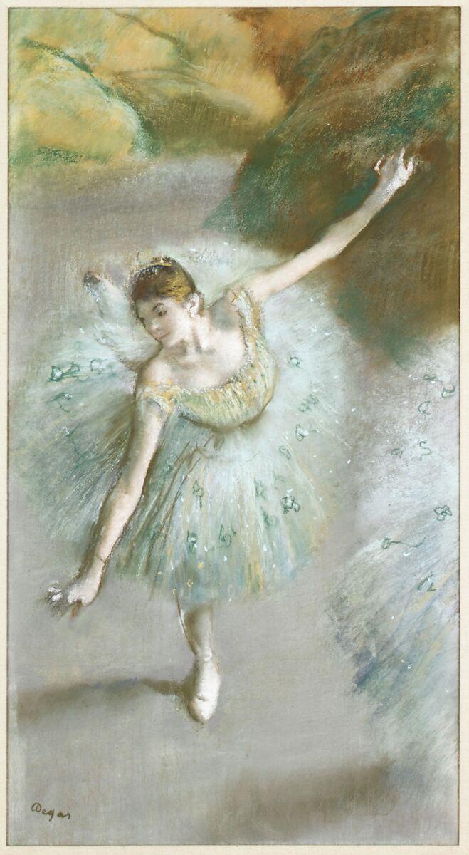 緑のダンサー、エドガードガ(フランス、パリ1834〜1917年パリ)、紙にパステル