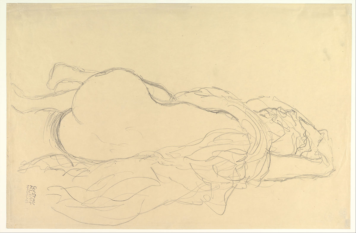Gustav Klimt | Reclining Nude with Drapery, Back View | The Met