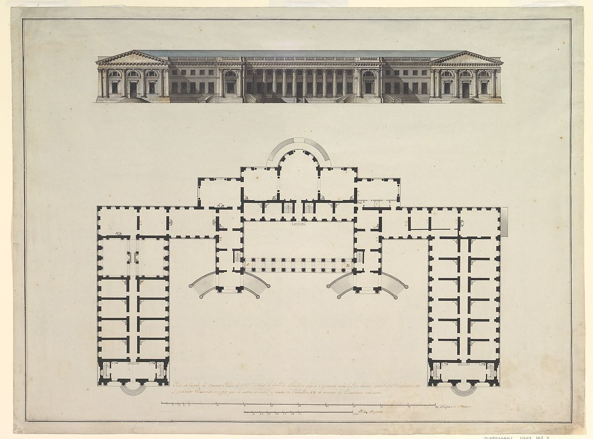 Giacomo Quarenghi North Elevation And Ground Plan Of The Alexander Palace At Tsarskoe Selo The Metropolitan Museum Of Art