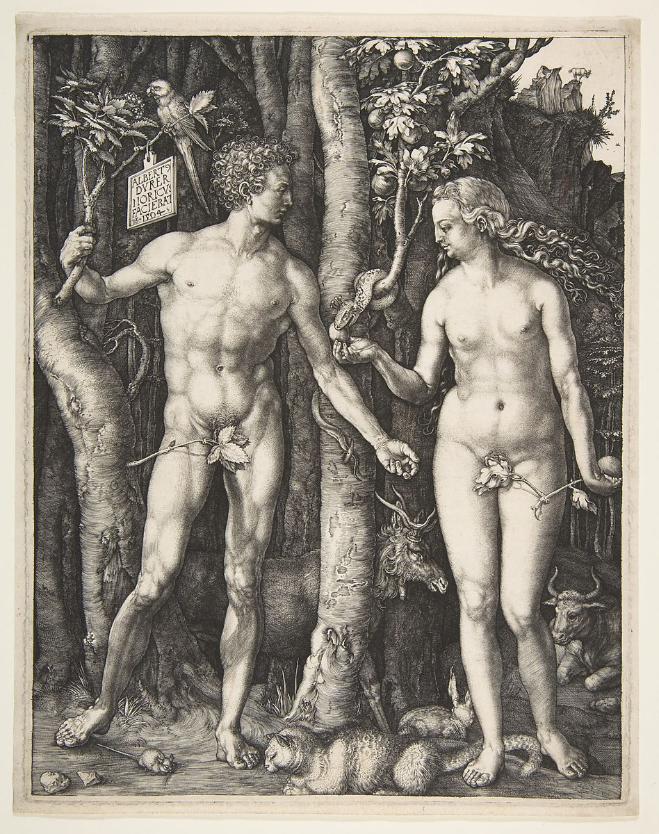 Adam and Eve, Albrecht Dürer (German, Nuremberg 1471â  1528 Nuremberg), Engraving