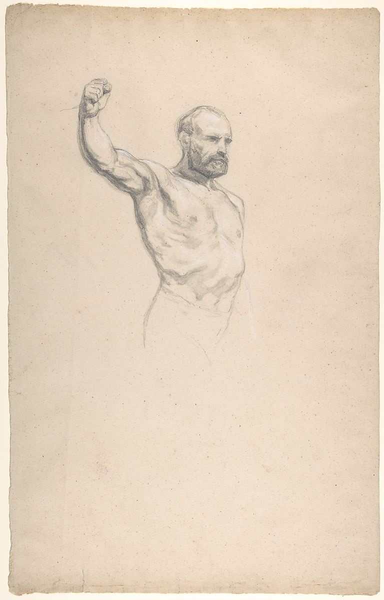 "Marie-Rosalie Bonheur | Bearded, bare-chested male figure, study for ""The Horse Fair"" | The Met"