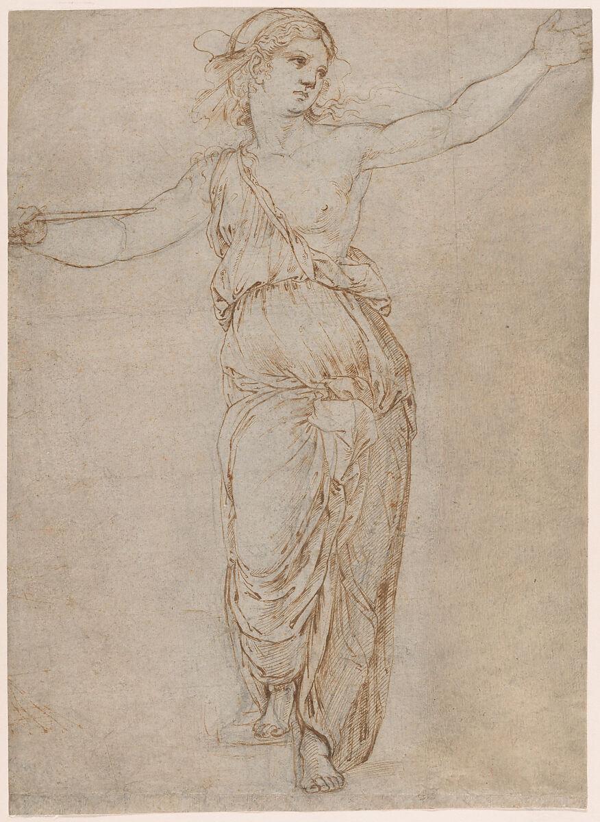Lucretia, Raphael (Raffaello Sanzio or Santi) (Italian, Urbino 1483–1520 Rome), Pen and brown ink over black chalk, partially incised with a stylus (recto); rubbed with black chalk for transfer (verso)