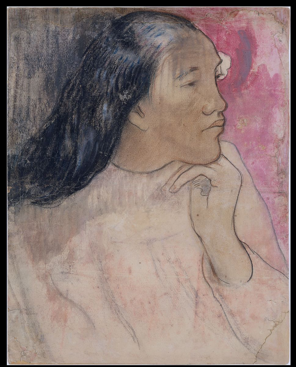 A Tahitian Woman with a Flower in Her Hair, Paul Gauguin (French, Paris 1848–1903 Atuona, Hiva Oa, Marquesas Islands), Charcoal, pastel, and wash