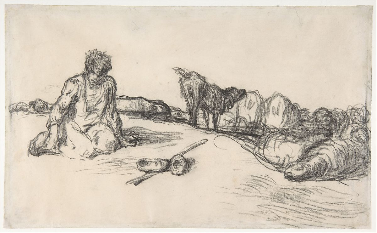A Seated Shepherd with His Dog and Sheep, Jean-François Millet (French, Gruchy 1814–1875 Barbizon), Conté crayon on wove paper