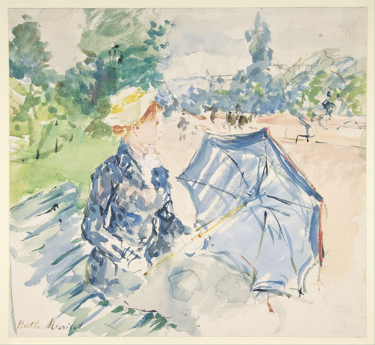 Berthe Morisot | A Woman Seated at a Bench on the Avenue du Bois | The Met
