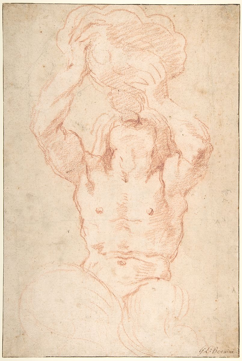 Gian Lorenzo Bernini | Study for a Triton (recto); Anatomical Studies ? (verso) | The Met