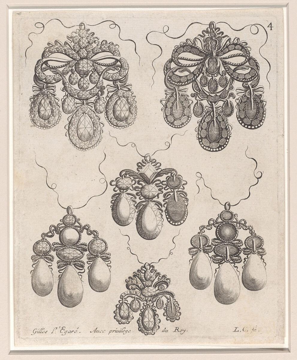 Gilles Legare Design For Pendants Plate 4 From Livre Des