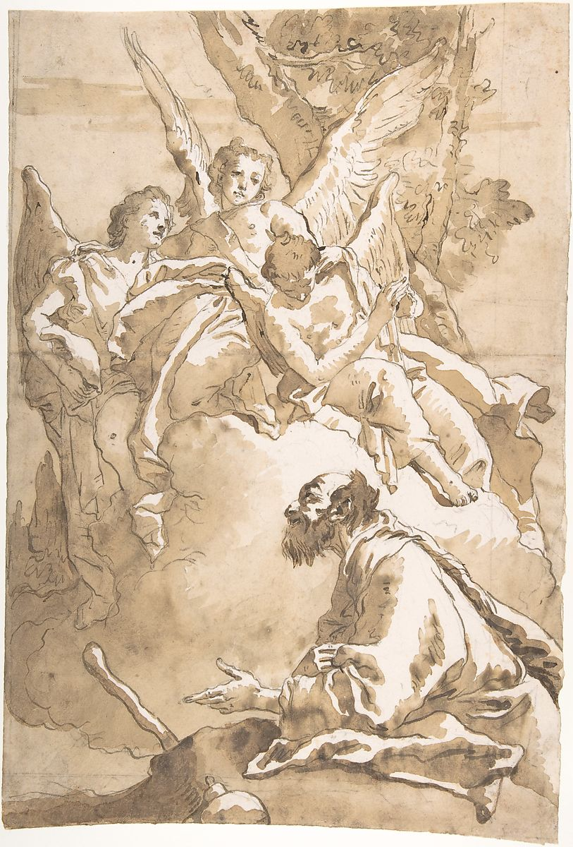 Three angles appearing to Abraham by oaks of Memre, Pen and dark brown ink, brush and wash. Three angles appearing on a hill top, sitting on a cloud while A man with beard kneels down before the image looking upward towards with a questioning hand gesture.