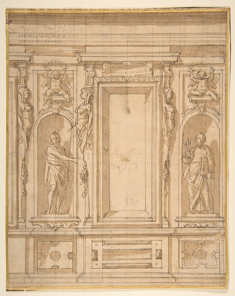 Lazzaro Tavarone | Wall Elevation with a Window and Statues of Saint ...